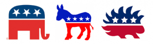 The party animals for the Libertarian, Republican, and Democrat Parties in the United States.