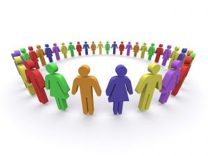 People in society standing in a circle in unity.
