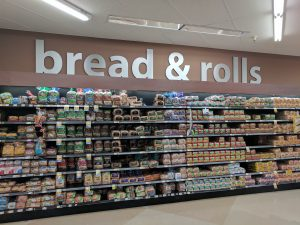 Bread Aisle at a Grocery Store