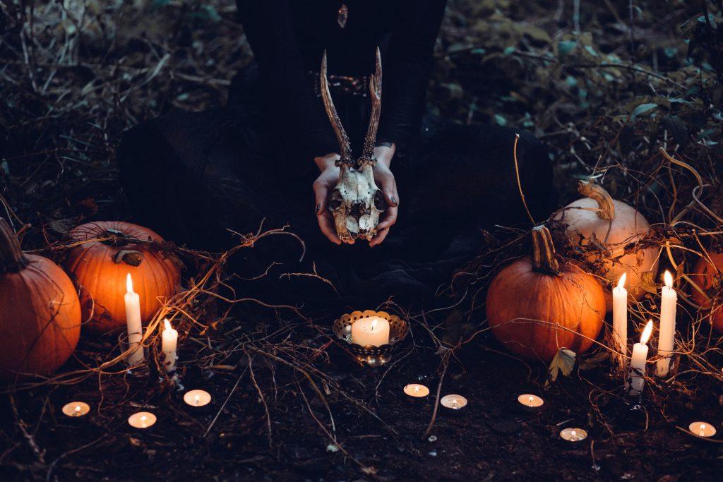 Pumpkins Candles Skull Witchcraft Halloween