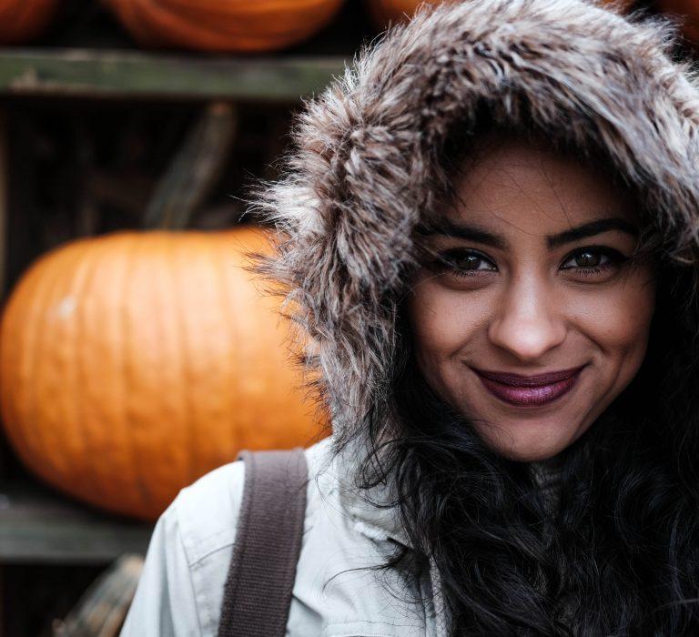 Single Woman Pumpkins Fall Jacket