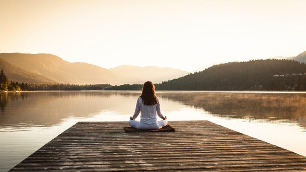 Meditation Lake White Clothes