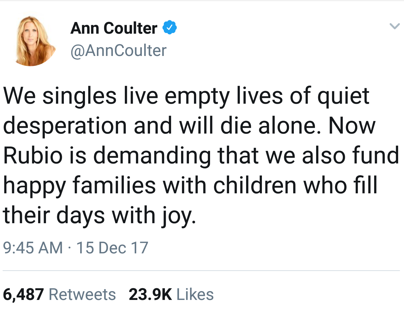 coulters single men A few months ago, ann coulter hit the headlines due to dating rumors with actor jimmie walker are ann coulter and jimmie walker dating for real or it is just a rumor.
