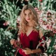 Blonde Woman Red Dress Engagement Season