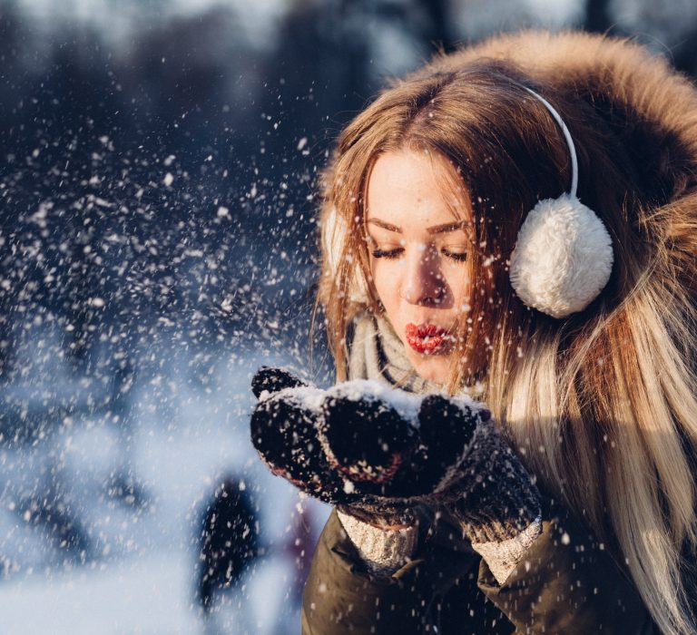 Singles Woman Blowing Snow Earmuffs