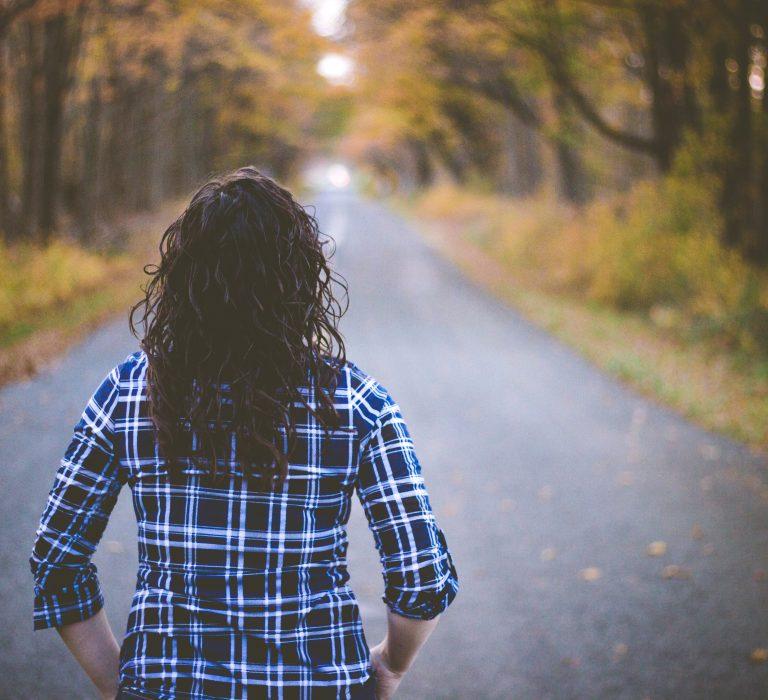 Single woman in fall